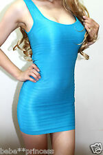 NWT bebe M L blue open back shine cutout bodycon skirt top sexy dress club hot