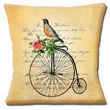 "FRENCH COUNTRY STYLE SHABBY CHIC BIRD PENNY FARTHING 16"" Pillow Cushion Cover"