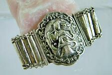 Antique Chinese Export Sterling Silver Repousse Big Bracelet  - RARE