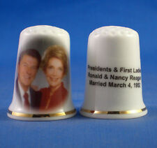 Birchcroft China Thimble -- Ronald and Nancy Reagan  -- Free Dome Box