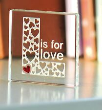 Spaceform L Is For Love Glass Token Christmas Gift Ideas For Her & Him 1748