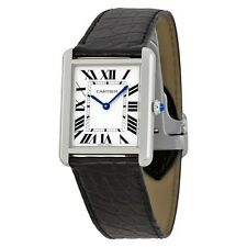 NEW Cartier Tank Solo Large Quartz Watch Black Alligator Strap - W5200003