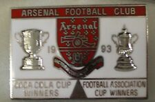 ARSENAL FOOTBALL CLUB - COCA COLA & F.A CUP WINNERS 1993 Enamel Pin Badge