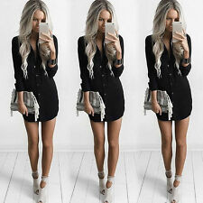 Women Casual Long Sleeve V-Neck Button Down Loose Chiffon T Shirt Blouse Dress