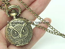 Owl Pocket watch Flap Pocket Watch Chain Necklace qu4u