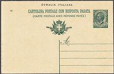SOMALIA ITALIANA INTERO CARTOLINA POSTALE 1911 C. 5 + 10 NUOVO FILAGRANO C3 RARA