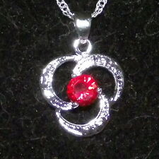 New 925 Sterling Silver and Ruby Crystal Spiral Pendant Charm with Free Chain