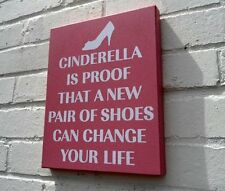 RETRO WALL BOX PLAQUE PINK SIGN 'CINDERELLA PROOF NEW PAIR OF SHOES....''