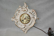VINTAGE WHITE AND GOLD CERAMIC WALL CLOCK ~ MOVEMENT BY SESSIONS ~ MADE IN USA