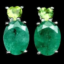 Awesome Elegant Natural Top green Emerald, Peridot 925 Sterling Silver Earrings
