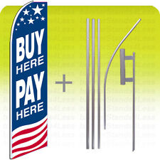 Feather Swooper Tall Banner Sign Flag 15' Kit- BUY HERE PAY HERE USA bb