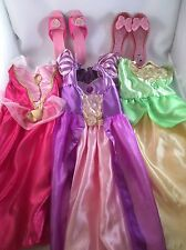 Lot of 3 Disney Princess Dress Up Costume Size 4 & 2 Dress Up Shoes