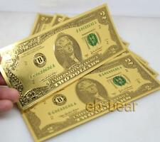 Lots 10 Pcs $2 US dollar Color Gold Banknote Crafts Collect Unusual Beautifully