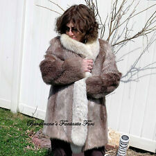Vtg NUTRIA FUR Coat Tuxedo FOX COLLAR jacket Stroller Medium-10