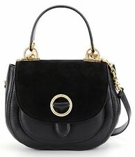 NWT $368 MICHAEL KORS Leather Suede Isadore Medium Top Handle Messenger BLACK