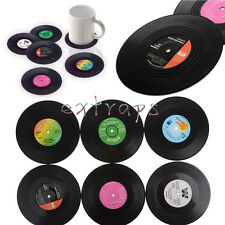 Useful 6PCS Vinyl Coaster Groovy Record Cup Drinks Holder Mat Tableware Placemat