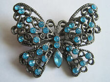 GORGEOUS VTG UNSIGNED JAPANNED TURQUOISE STONES BUTTERFLY BROOCH PIN
