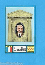 OLYMPIA 1896-1972-PANINI-Figurina ADESIVA !! n.1- DE COUBERTIN - FRANCIA -Rec