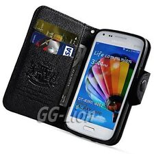 FOR SAMSUNG GALAXY CORE,i8260/i8262 BLACK LEATHER WALLET CASE COVER