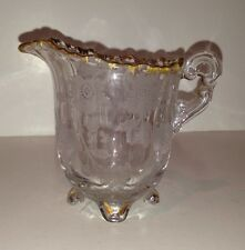 Antique Small Cut Etched Glass Creamer Floral Design Gilded Edges Cambridge