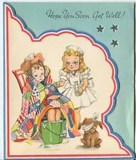 VINTAGE NURSE MEDICINE DOG TRUNDLE HOOP CLOWN HOUSE FLOWERS GET WELL CARD PRINT