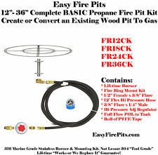 "FR12CK: 12"" FIRE RING COMPLETE BASIC PROPANE FIRE PIT KIT DIY READY TO INSTALL"