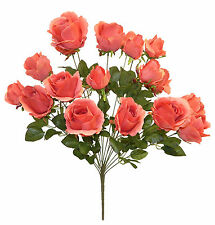 18 CORAL REEF ROSES Large Reception Centerpieces Long Stem Silk Wedding Flowers