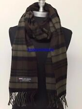 New 100%CASHMERE SCARF Check Plaid Scotland Soft Warm Wool Brown/Oliver/Black
