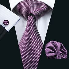 C-950 Classic Purple Tie for Men Business Silk Jacquard Woven Necktie Set Hanky