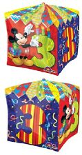 """MICKEY MOUSE #3 3rd Third 23"""" Birthday Cube Cubez Square Party Mylar BALLOON"""