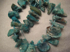 Agate Geode Blue Graduated Tip Drilled Beads 28pcs
