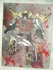 Canvas Painting Transformers Dinobot Snarl Grey Spatter Art 16x12 inch Acrylic
