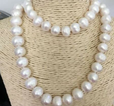 100% NATURAL 12-13MM WHITE SOUTH SEA BAROQUE PEARL NECKLACE 34INCH