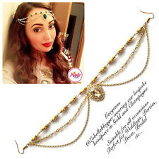 Hijab Pin Wedding Bridal Tikka Hair Bracelet jewellery Head piece gold champagne