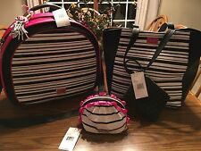 Betsey Johnson Weekender Train Case 2 In 1 Stripe Tote Purse Cosmetic Ruffle Bag