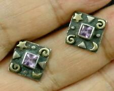 Amethyst Square .925 Sterling Silver 22K Gold Moon Star Post Stud Earrings