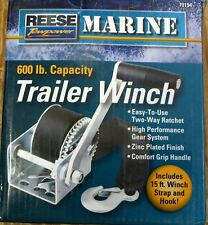 Reese Towpower 70194 600lb Marine Winch With 15' Strap For Boat, Waverunner, ATV