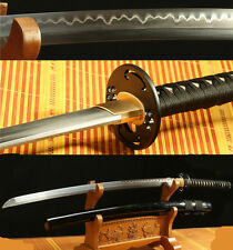 "41"" DAMASCUS FOLDED STEEL CLAY TEMPERED  BLACK JAPANESE SAMURAI SWORD KATANA"