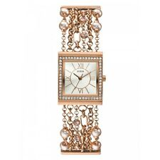 GUESS MULTI STRANDS ROSE GOLD,PEARL BRACELET,BAND+CRYSTAL BEZEL WATCH-U0140L3
