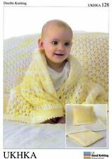 Baby DK Knitting Pattern for Cot Blanket, Pram Blanket & Cushion - UKHKA 128