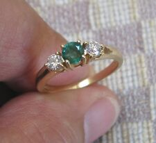 MILLENNIUM THREE STONE EMERALD & DIAMOND RING (14K YELLOW GOLD)