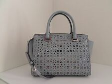 NWT AUTH MICHAEL KORS SELMA FLORAL PERFORATED MEDIUM SATCHEL-$328-DUSTY BLUE