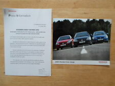 HONDA CIVIC RANGE orig 2003 2004  UK Mkt Press Release + Photo - Brochure