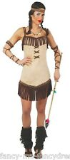 Ladies Sexy Pocahontas Native Indian Squaw Wild West Fancy Dress Costume Outfit