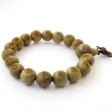 Buddha Word FO Green Sandalwood Tibet Buddhist Prayer Beads Mala Bracelet---12mm