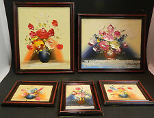 Vintage Set of (5) Framed Hand Painted Oil on Board Floral Still Life Paintings