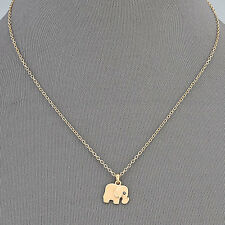 Gold Simple Dainty Detailed Elephant Pendant Womens Necklace