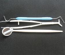 3Pc Dental Hygiene Kit Mirror Tweezers & Pick/Explorer/Probe– Clean Teeth Set