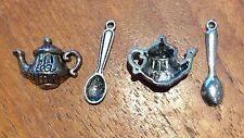 2x Tea Pot And 2x Spoon Rockabily Silver Coloured Craft Charms