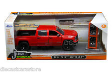 JADA 2014 CHEVROLET SILVERADO PICKUP TRUCK W/ EXTRA WHEELS RED 1/24 CAR 97227